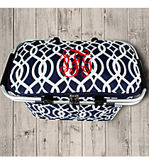 Navy Trellis Collapsible Insulated Market Basket with Lid #BIQ658-NAVY