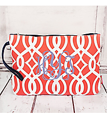 Coral Trellis Large Cosmetic Bag with Navy Trim #BIQ832-CORAL