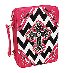 Black and White Chevron with Hot Pink Trim Studded Cross Bible Cover #BL13502W2SVLCR-BLK/WHT/HP