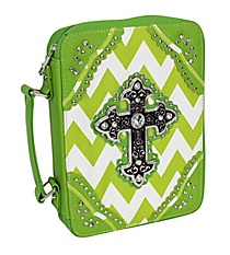 Green and White Chevron Studded Cross Bible Cover #BL13502W2SVLCR-GREEN