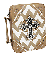 Taupe and White Chevron Studded Cross Bible Cover #BL13502W2SVLCR-GREY