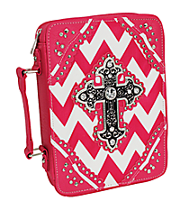 Hot Pink and White Chevron Studded Cross Bible Cover #BL13502W2SVLCR-HP/WHT