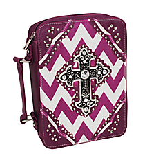 Purple and White Chevron Studded Cross Bible Cover #BL13502W2SVLCR-PURPLE