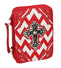 Red and White Chevron Studded Cross Bible Cover #BL13502W2SVLCR-RED/WHT