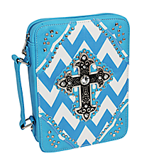 Turquoise and White Chevron Studded Cross Bible Cover #BL13502W2SVLCR-TURQ/WHT
