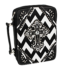 Black and White Chevron Studded Cross Bible Cover #BL13502W2SVLCR-BLK/WHT