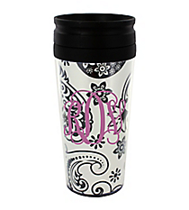 Black and White Floral Paisley 14 oz. Travel Tumbler with Black Lid #WLCM338PP-CL-U
