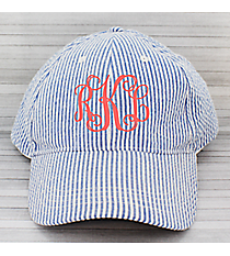 Light Blue Striped Seersucker Cap #SW181353/32521