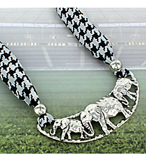 """18"""" Hammered Silvertone Elephant Scarf Necklace #BN4107-BS"""