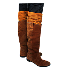 One Pair of Orange Cable Knit Boot Cuffs #36223