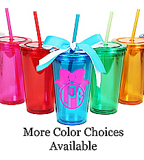 Bow Monogram 16 oz. Double Wall Tumbler with Straw #WA334004 *Choose Your Colors