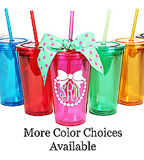 Bow with Pearls Monogram 16 oz. Double Wall Tumbler with Straw #WA334004 *Choose Your Colors