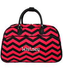 Black and Fuchsia Chevron Large Bowler Bag #F2014-165-B/F