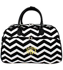 Black and White Chevron Large Bowler Bag #F2014-165-B/W