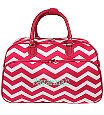 Fuchsia and White Chevron Large Bowler Bag #F2014-165-F/W