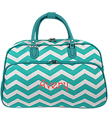 Light Blue and White Chevron Large Bowler Bag #F2014-165-LT/W