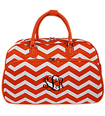 Orange and White Chevron Large Bowler Bag #F2014-165-OR/W