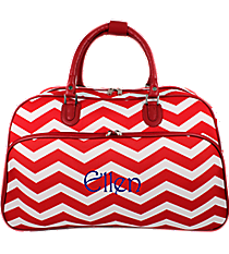 Red and White Chevron Large Bowler Bag #F2014-165-R/W