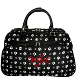 Black with White Paw Prints Large Bowler Bag #F2014-587-B/W