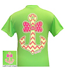 Bow Tie Chevron Anchor Lime T-Shirt *Choose Your Size