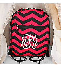 Black and Fuchsia Chevron Flat Drawstring Backpack #BP501-165-B/F