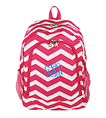 Fuchsia and White Chevron Backpack #BP5016-165-F/W