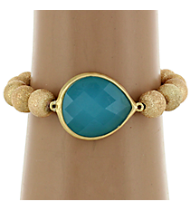 Turquoise Medallion Goldtone Textured Bead Stretch Bracelet #BR112X197A-GD/TQ