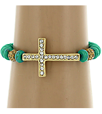 Crystal Goldtone Cross and Turquoise Wood Bead Stretch Bracelet #BR118X087A-TQ