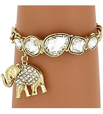 Faceted Gem Toggle Bracelet with Crystal Elephant Charm #AB5487-GC