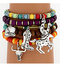 5 Piece Beaded Western Charm Bracelet Set #AB6671-TTMT