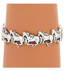 Silvertone Horse Stretch Bracelet #AB6816-AS