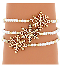 Goldtone and Pearl Bead Snowflake Stretch Bracelet Set #AB6838-GPL