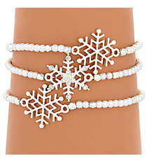 Silvertone and Pearl Bead Snowflake Stretch Bracelet Set #AB6838-SPL