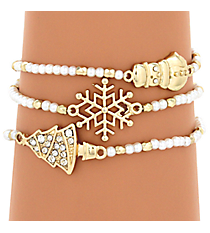 Goldtone and Pearl Bead Winter Stretch Bracelet Set #AB6839-GPL