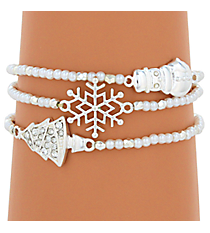 Silvertone and Pearl Bead Winter Stretch Bracelet Set #AB6839-SPL