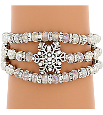 Silvertone and Iridescent Bead Snowflake Wrap Around Stretch Bracelet #AB6994-RHAB