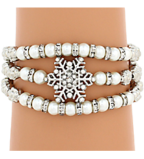 Silvertone and Pearl Bead Snowflake Wrap Around Stretch Bracelet #AB6994-RHPL