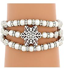 Silvertone and Pearl Bead Snowflake Wrap Around Stretch Bracelet #AB6994-RHPL