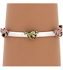 Burnished Tri-Tone Horse Stretch Bracelet #AB7126-B3T