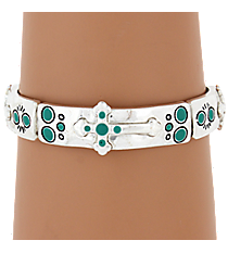 Silvertone and Turquoise Cross Stretch Bracelet #AB7136-ASTQ