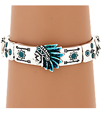 Silvertone and Turquoise Southwestern Stretch Bracelet #AB7137-ASTQ
