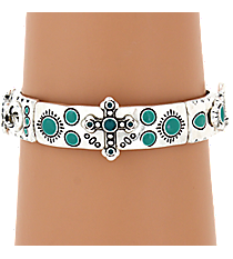 Silvertone and Turquoise Western Stretch Bracelet #AB7138-ASTQ