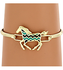 Goldtone Black and Turquoise Chevron Horse Hook Bracelet #AB7191-GTQJ