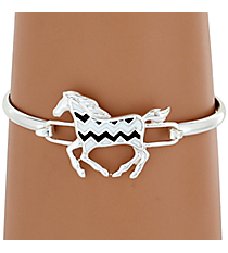 Silvertone Black and White Chevron Horse Bracelet #AB7191-SJW