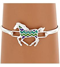 Silvertone Multi-Color Chevron Horse Bracelet #AB7191-SMX