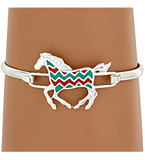 Silvertone Turquoise and Coral Chevron Horse Bracelet #AB7191-STQC