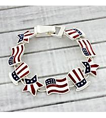 US Flag Patriotic Themed Magnetic Bracelet #AB7383-ASMX
