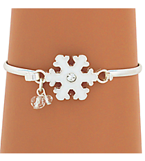 Silvertone Snowflake with Crystal Accent Bangle #JB4219-SWT