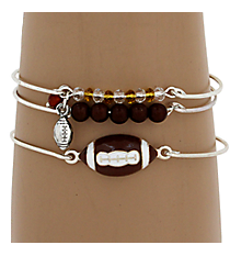 3-Piece Brown Football Bangle Set #JB4388-SBR
