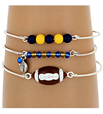 3-Piece Blue and Yellow Football Bangle Set #JB4388-SBY